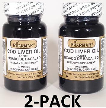 Aceite De Higado De Bacalao Capsules 2 x 50s (100 softgels Total) Cod Liver