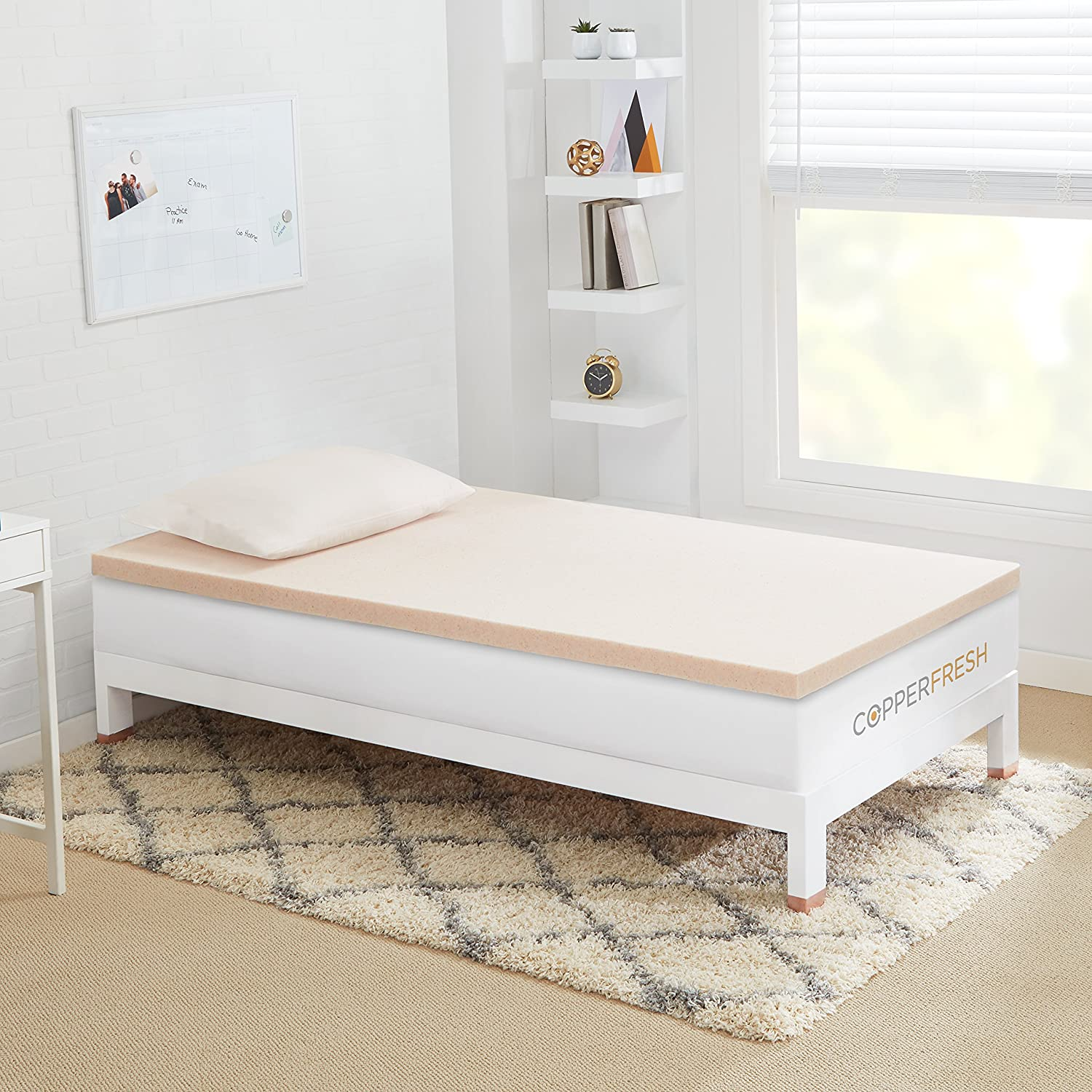 CopperFresh Gel Memory Foam Mattress Topper by Sleep Studio, Naturally Antimicrobial and Cool, Made in The USA – 3-Inches, Twin