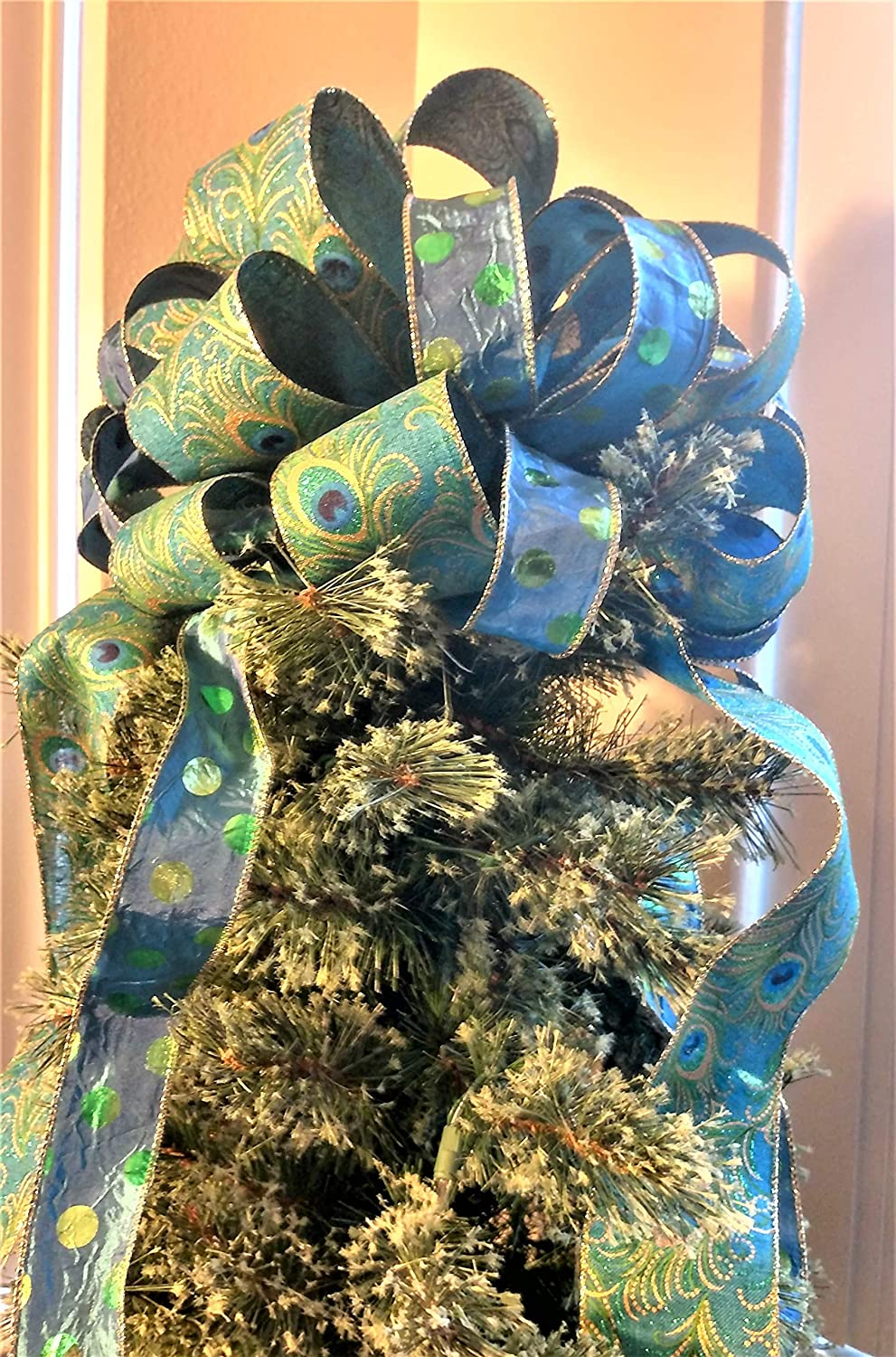 Christmas Tree Topper Peacock Christmas Tree Topper Bow Holiday