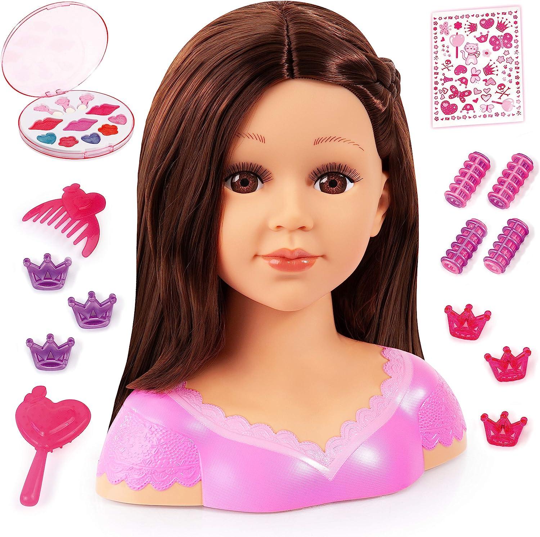 Bayer Design 90088Ak, Charlene Super Model, Busto Muñeca Peinar y Maquillar Comassessorios, Marrón, 27Cm, Color Cabello Castaño