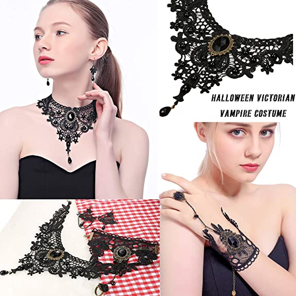 Thunaraz Black Lace Necklace Earrings with Bracelet Set for Women Punk Style Pendant Choker for Wedding Party Christmas Halloween Costume