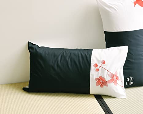 orientsense COMINHKR041934 Black//White//Red 20 x 26 20 x 26 Set of 2 Set of 2 Standard Pillow Cases//Covers With Embroidered Birds and Flowers