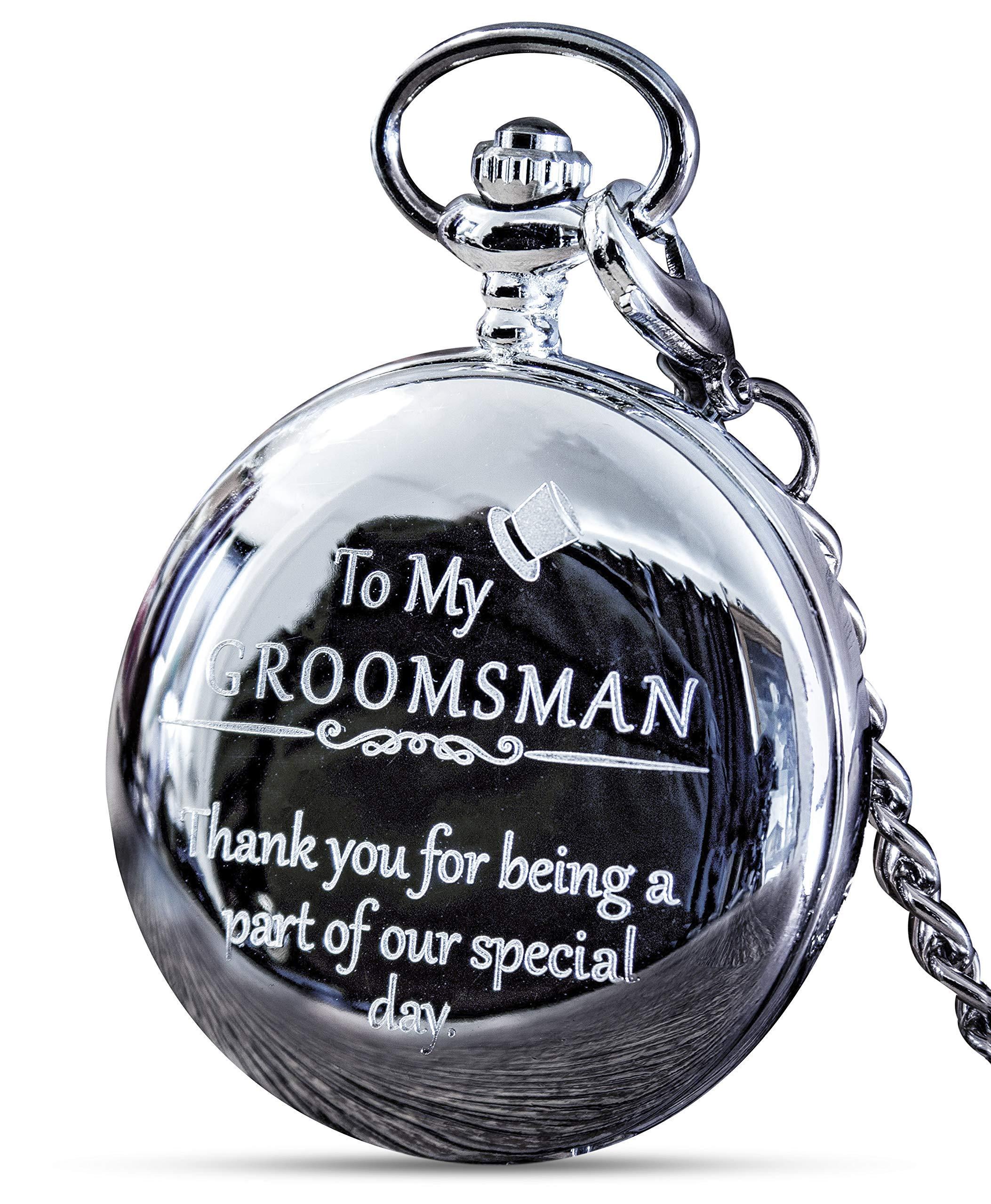Groomsmen Gifts for Wedding or Proposal - Engraved Groomsman Pocket Watch - Luxury Wedding Gift by FREDERICK JAMES