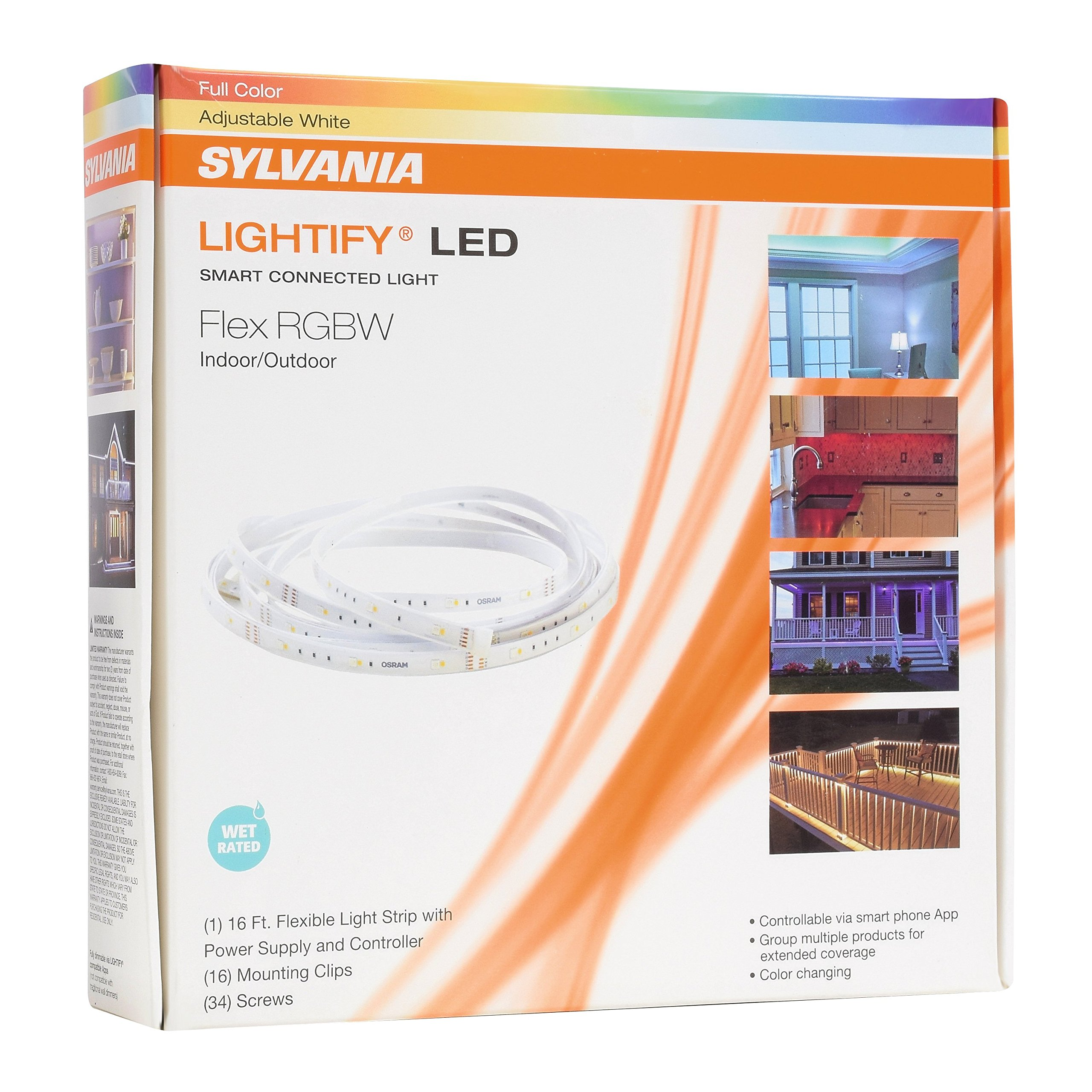 Sylvania lightify by osram led flex light strip rgbw for smart sylvania lightify by osram led flex light strip rgbw for smart home connected adjustable warm white to daylight color works with alexa requires aloadofball Choice Image