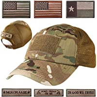 ea0c25cc0 Lightbird Mesh Tactical Hat with 6 PCS Tactical Military Patches,  Adjustable Operator Hat, Durable