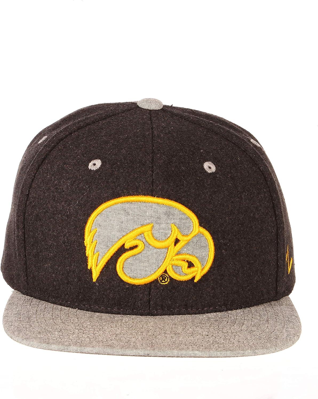NCAA Zephyr Iowa Hawkeyes Mens Bespoke Melton Ol Snapback Hat Adjustable Charcoal Grey
