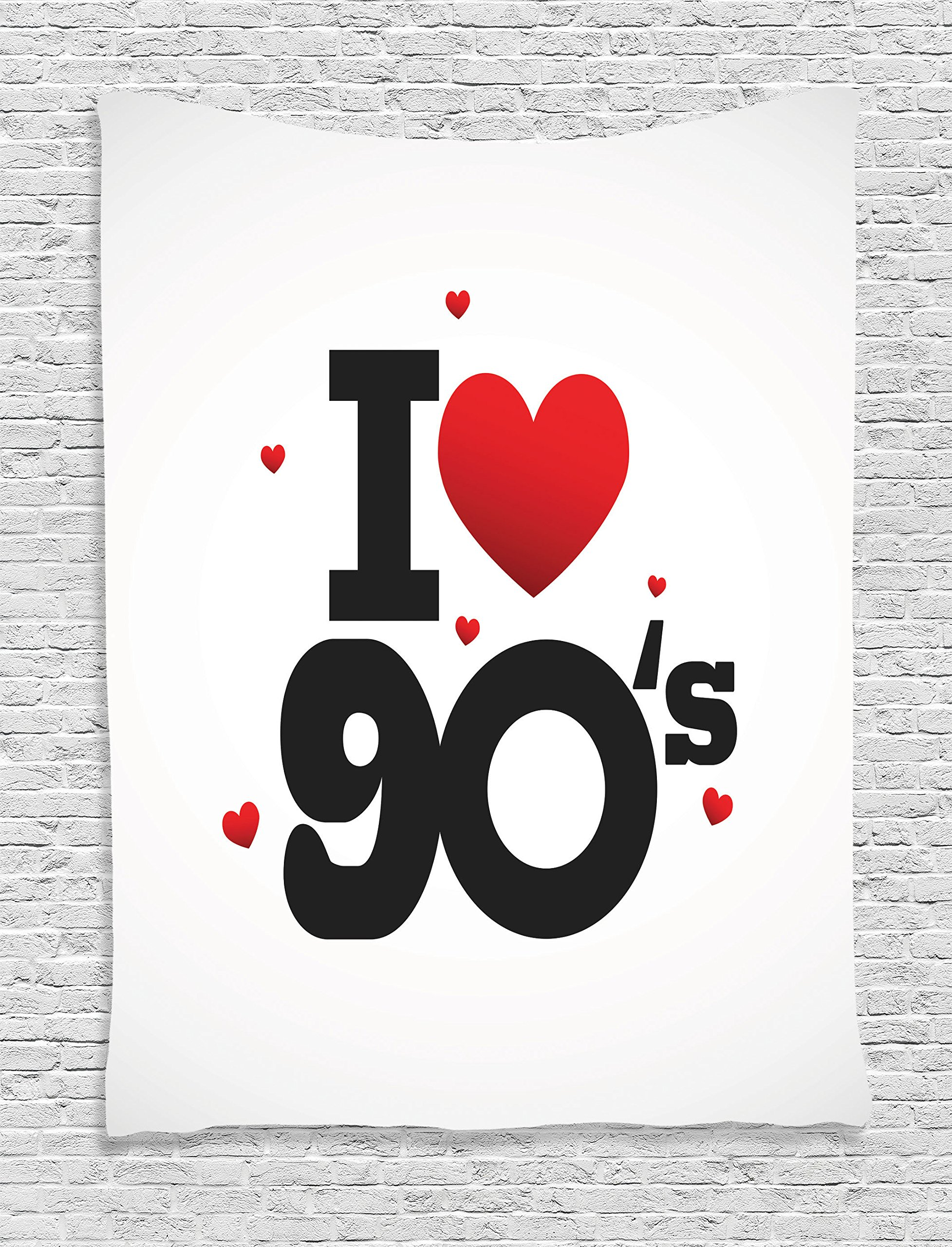 Ambesonne 90s Decorations Collection, I Love 90s Illustration Hearts Decade Good Old Days Favorite Times Passion Artwork, Bedroom Living Room Dorm Wall Hanging Tapestry, Black Red White
