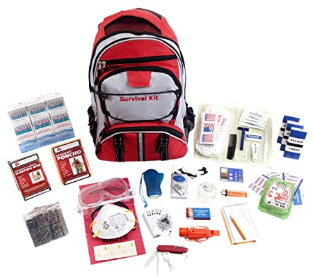 Guardian Survival Gear Hiker s Deluxe Emergency Kit, Red Backpack, 1 Person