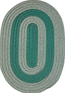 product image for Veranda Patio 8' ROUND Braided Rug in Hunter & Tan Tweed