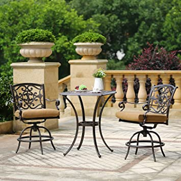 Domi Outdoor Living Patio Bar Set, Outdoor Patio 3pcs Set Pedestal Bar  Table, Antique