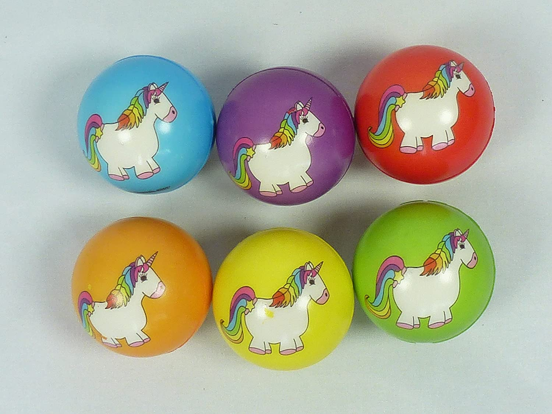 wu047052, 6 pieza antiestrés Softball, diseño unicornio, 6 cm ...