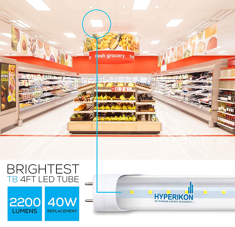 CRI90 Dual End Powered DLC 18W Hyperikon 4 Foot LED Light 5000k Bright White 45 Watt Replacement UL Clear 4 Pack T8 Tube Lighting