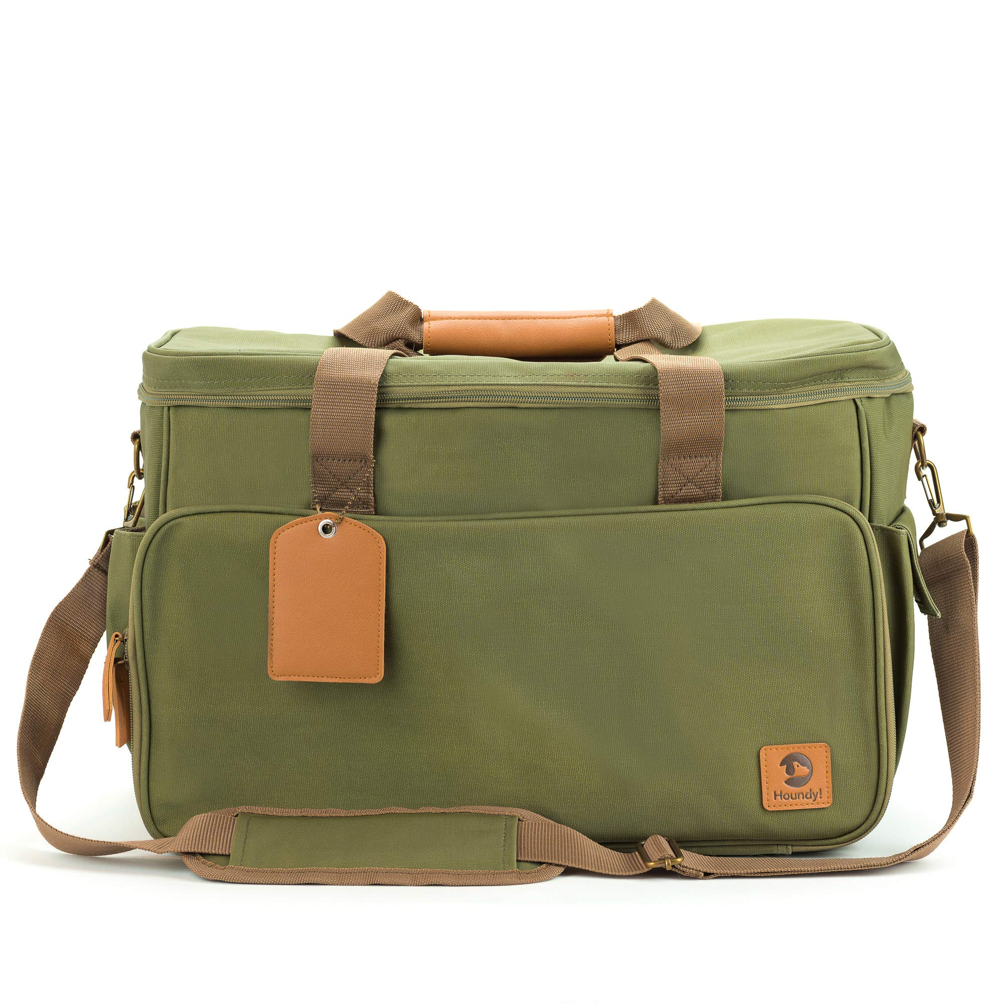 Houndy! Yoho Dog's Travel Bag. Large Stylish Waterproof Waxed Canvas. Perfect for Traveling, Camping, Outdoors, Carry-on Dog Bag. Two Pet-Safe Food Containers and Two Silicone Bowls (Juniper Green) by Houndy!
