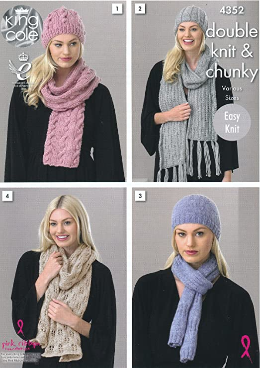 King Cole 4352 Knitting Pattern Leaflet Ladies Hats And Scarves To