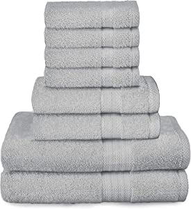 Glamburg Ultra Soft 8 Piece Towel Set - 100% Pure Ring Spun Cotton, Contains 2 Oversized Bath Towels 27x54, 2 Hand Towels 16x28, 4 Wash Cloths 13x13 - Ideal for Everyday use, Hotel & Spa - Light Grey