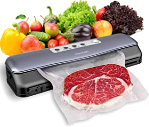 Vacuum Sealer Machine, CHOOBY Food Vacuum Sealer with Built-In Cutter and 10 Bags, (-60 Kpa) Automatic Food Sealers Vacuum Packing Machine with Dry & Moist Food Mode for Food Preservation