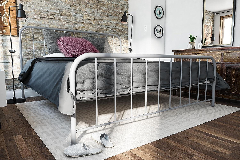 Novogratz Bellamy Metal Bed Frame with Under Bed Storage, Grey, King