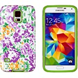 DandyCase 2in1 Hybrid High Impact Hard Lavender Floral Pattern + Green Silicone Case Cover for Samsung Galaxy S5 i9600 - Includes DandyCase Keychain Screen Cleaner