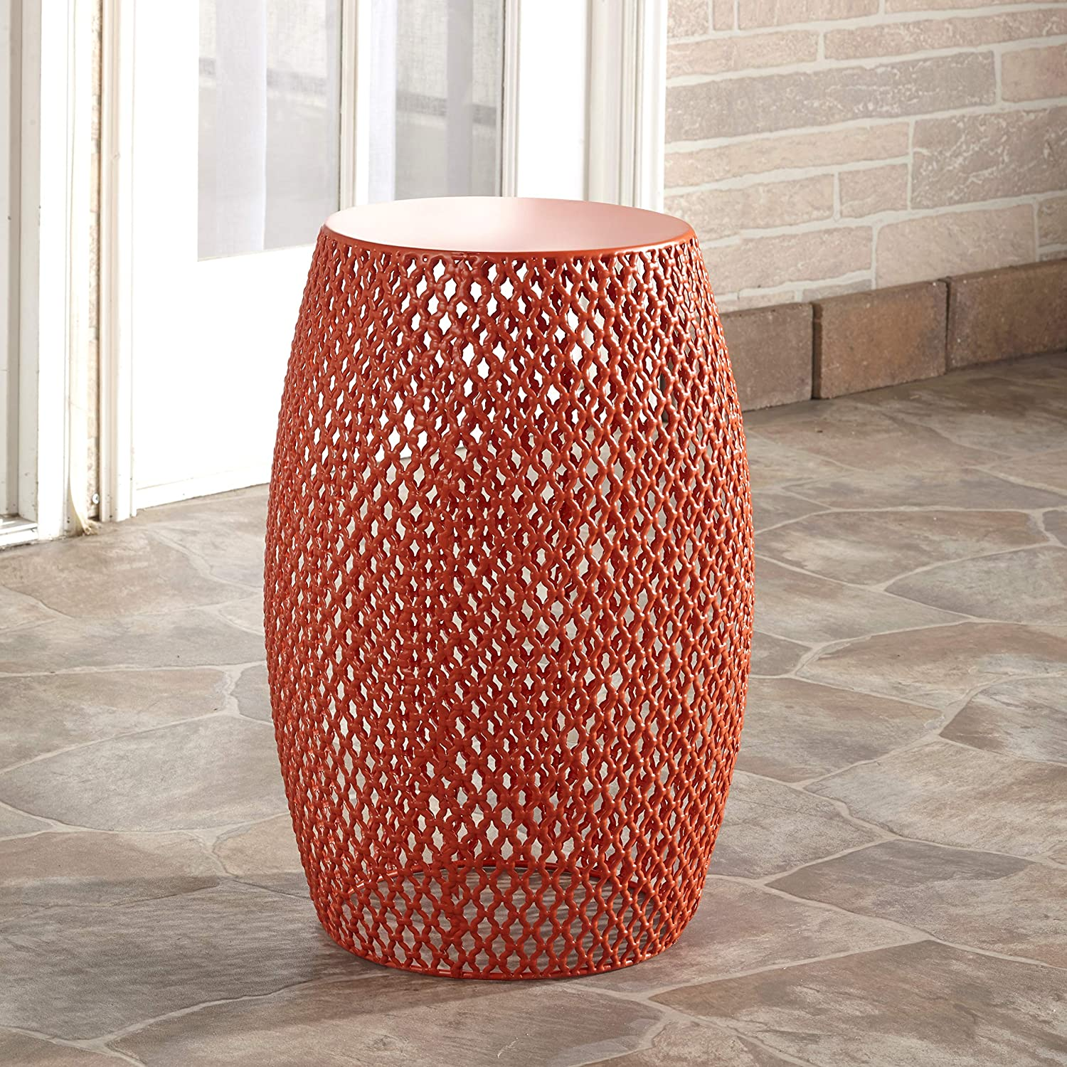 The Lakeside Collection Metal Outdoor Garden Stool, Accent Table, Side Table, or Plant Stand - Sunset Orange