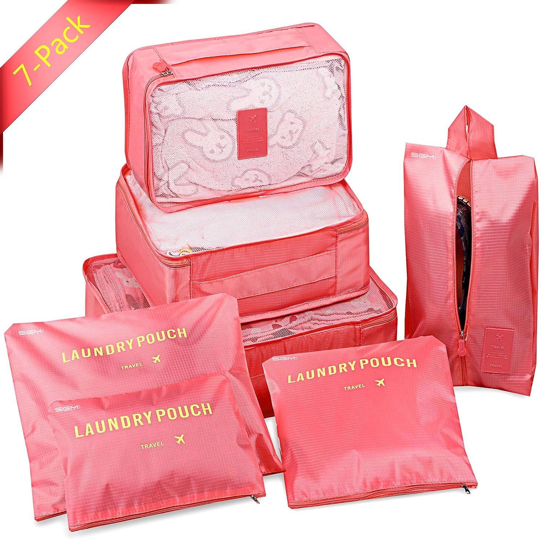 SGM 旅行用パッキングキューブ 7個セット パッキングラゲッジスーツケースオーガナイザーとポーチ トイレタリーシューズとランドリーバッグ付き B078HSFVK8 ピンク