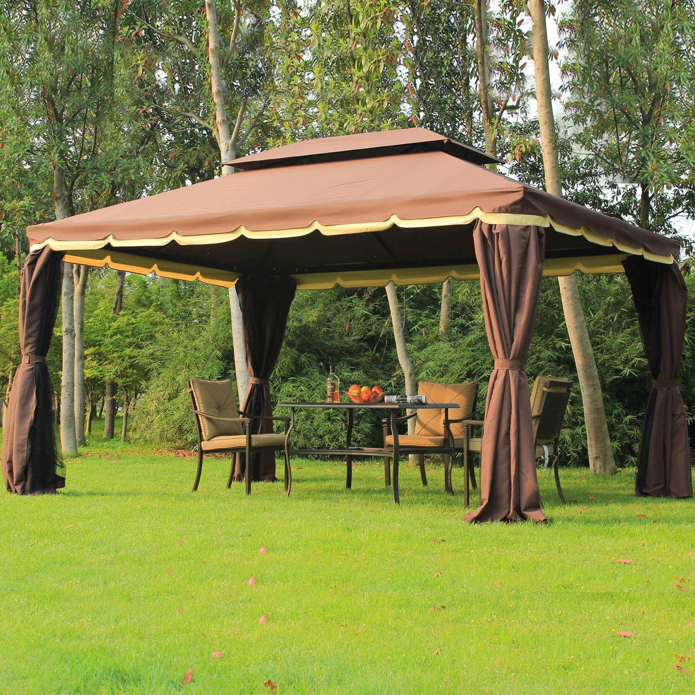 Outsunny Gazebo Pabellón Exterior Jardín 2.9x3.9x2.8m Carpa Cenador Marco de Aluminio con Pared Lateral y Mosquitero para Fiesta Eventos: Amazon.es: Jardín
