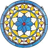 Design Toscano Victorian Blue Flower Stained Glass Window