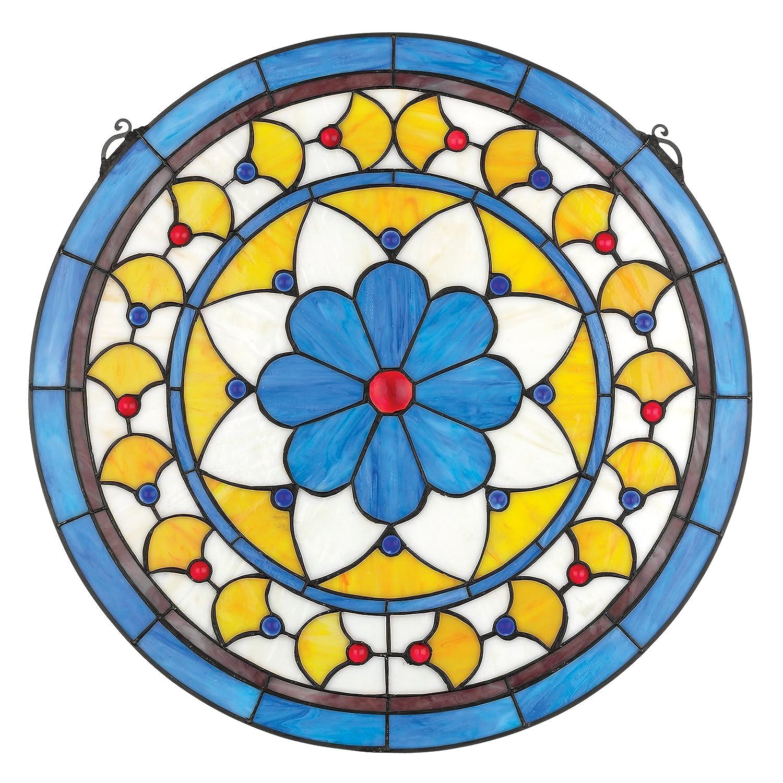 Buntglas-Panel - Victorian Blauer Blume Runde Buntglas-Fenster ...