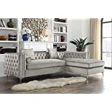 Iconic Home Chic Home Da Vinci Velvet Modern Contemporary Button Tufted with Silver Nailhead Trim Silvertone Metal Y-Leg Right Facing SECTIONAL Sofa, Silver