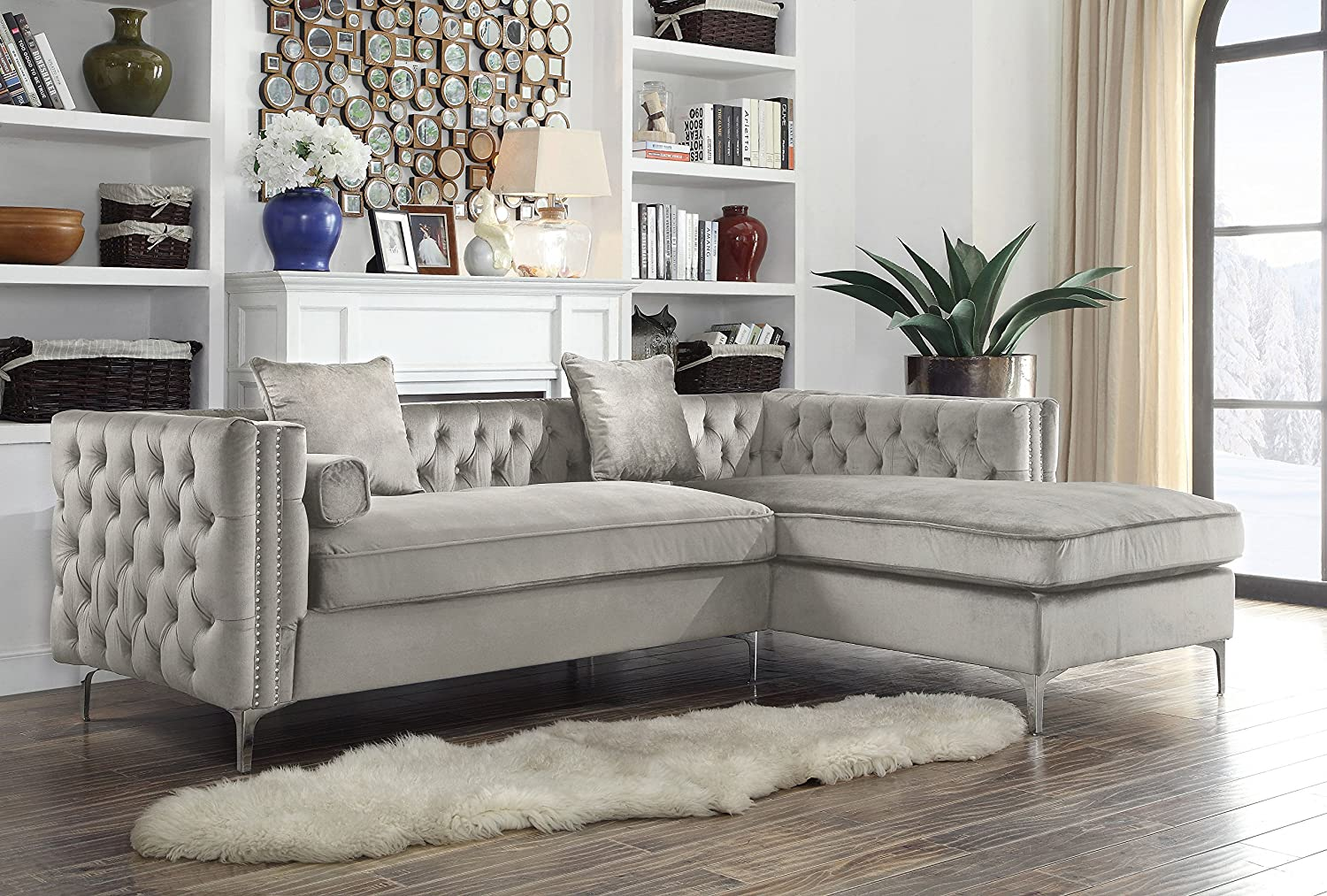 Iconic home chic home da vinci velvet modern contemporary button tufted with silver nailhead trim silvertone metal y leg right facing sectional sofa silver