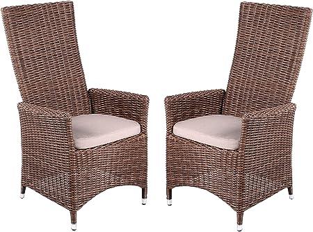 Strandgut07 Lot de 2 Fauteuil en rotin synthétique réglable Fauteuil Marron avec Coussin d'assise Chaise de Jardin Haute qualité Lot de 2 fauteuils en