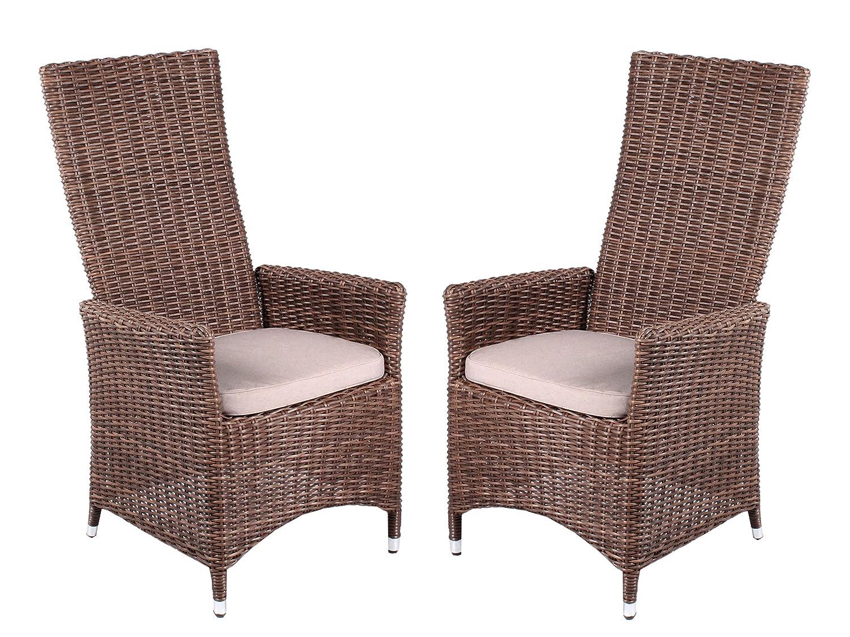 2er Set Polyrattan Stuhl verstellbar Sessel braun inkl Sitzkissen Gartenstuhl hochwertig Polyrattansessel 2 Stück