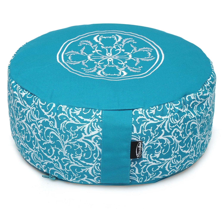 Yogishop Meditationskissen rund - vintage - cotton turquoise