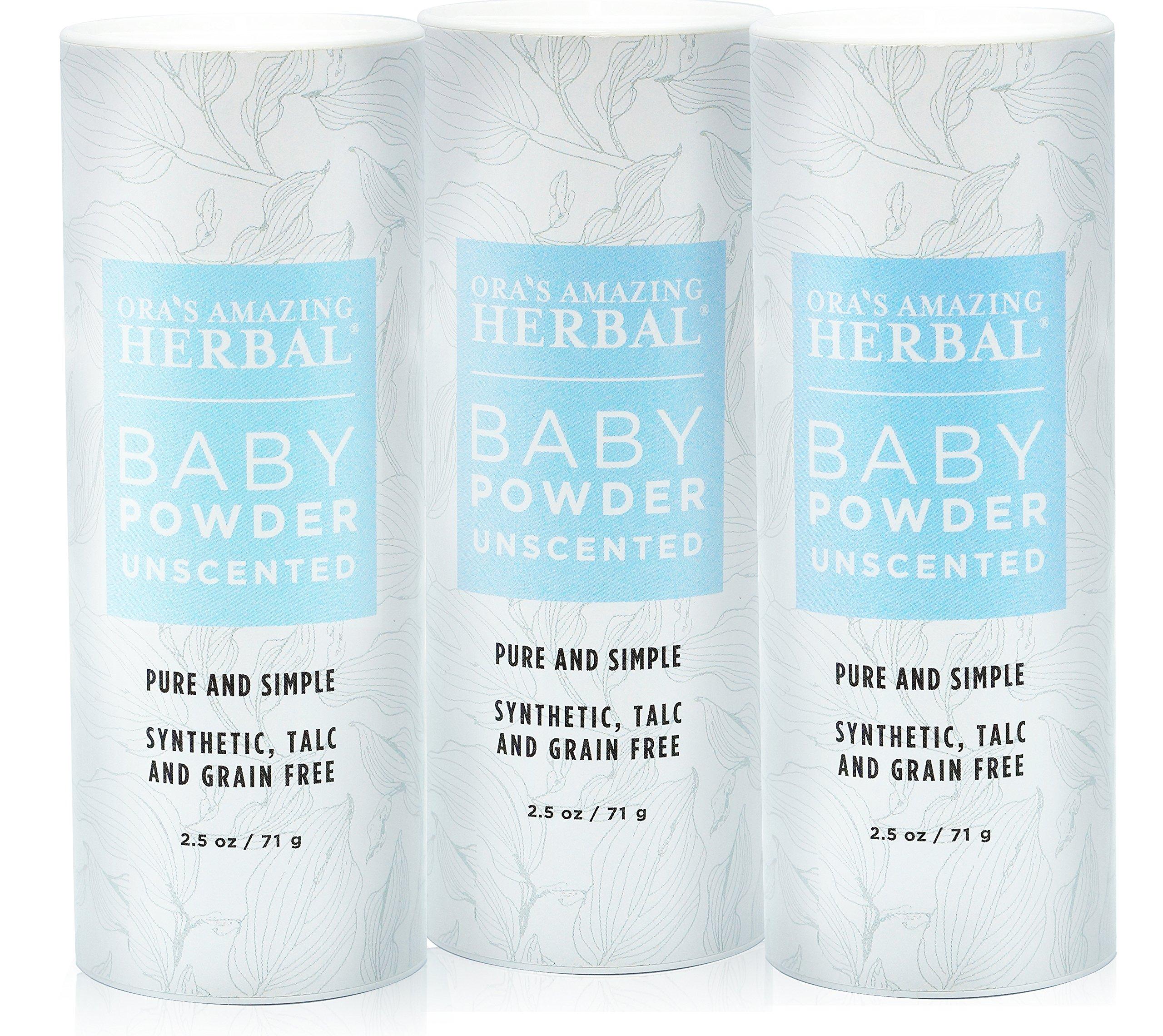 Ora's Amazing Herbal Talc-Free Grain-Free Gluten-Free Corn-Free Baby Powder 2.5oz ... (Unscented 3 Pack) by Ora's Amazing Herbal