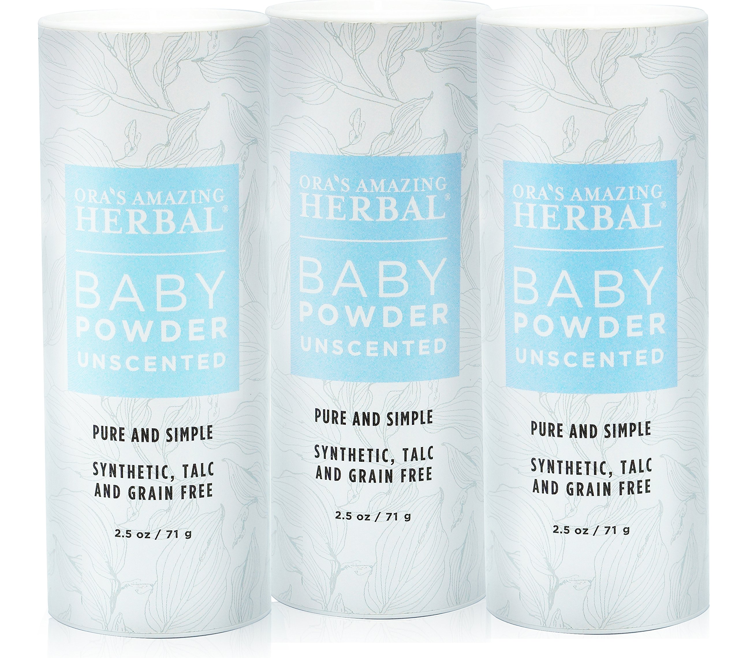 Natural Baby Powder 2.5 Ounces (Pack of 3) No Talc Corn Gluten Grains Or Any Synthetic Ingredients Ora's Amazing Herbal (Unscented)