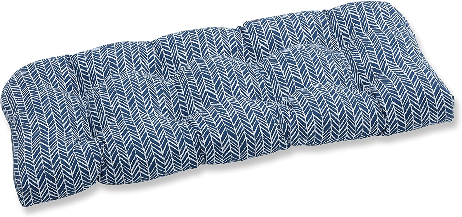 "Pillow Perfect Outdoor/Indoor Herringbone Ink Tufted Loveseat Cushion, 44"" x 19"", Blue"