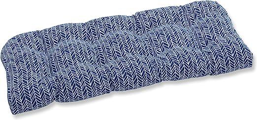 Pillow Perfect Outdoor Indoor Herringbone Ink Blue Wicker Loveseat Cushion