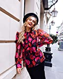 The Drop Women's Sheer Floral Print Puff-Sleeve Tie Neck Top by @officiallyquigley