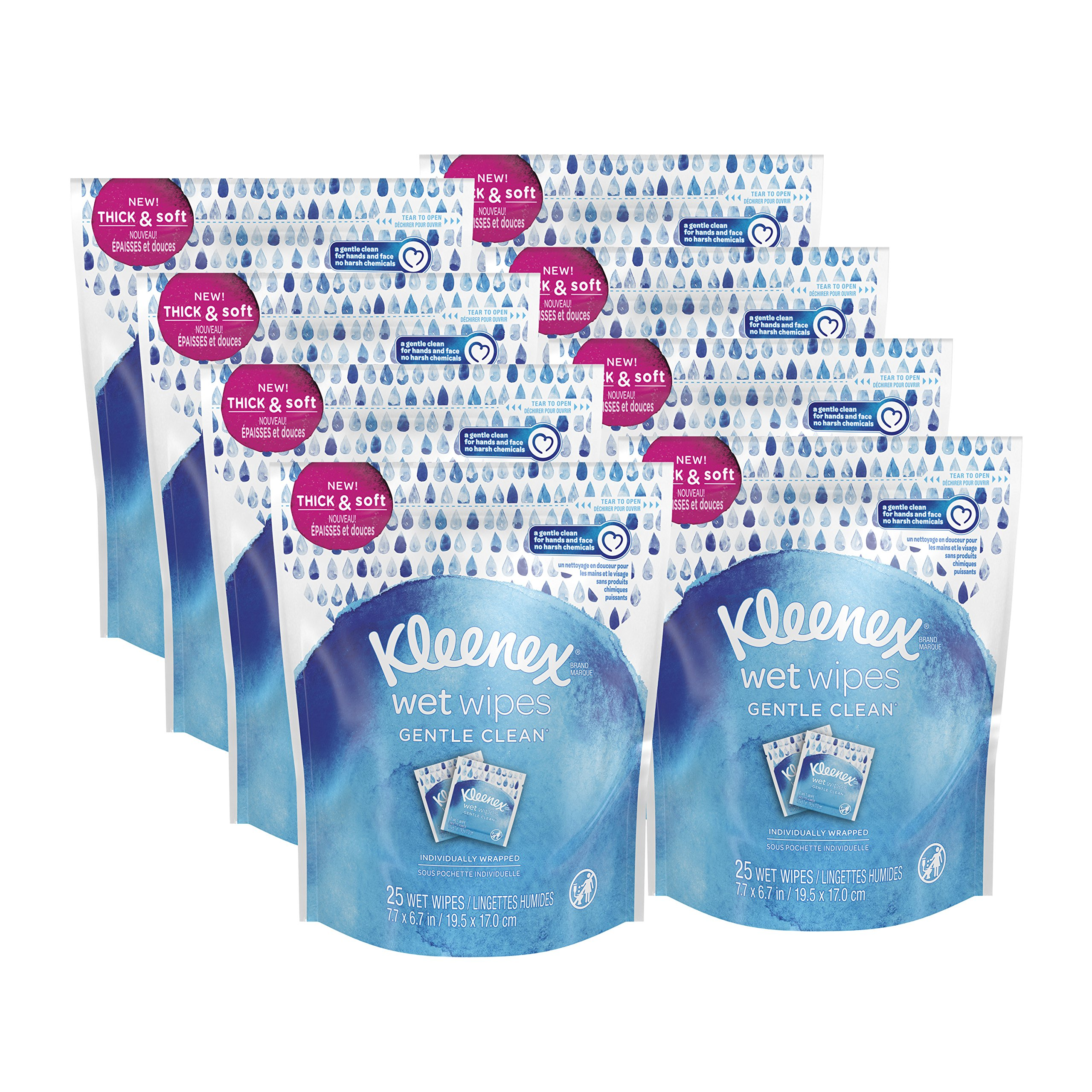 Kleenex Wet Wipes Gentle Clean for Hands and Face, Individually Wrapped, Wrapped, 8