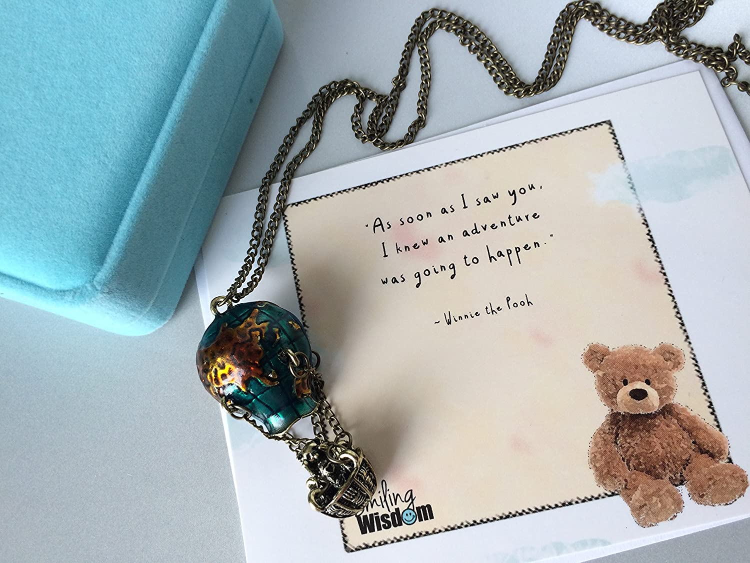 d608da90202f Smiling Wisdom - Hot Air Balloon Necklace Gift Set - Winnie the Pooh Quote  - Friendship