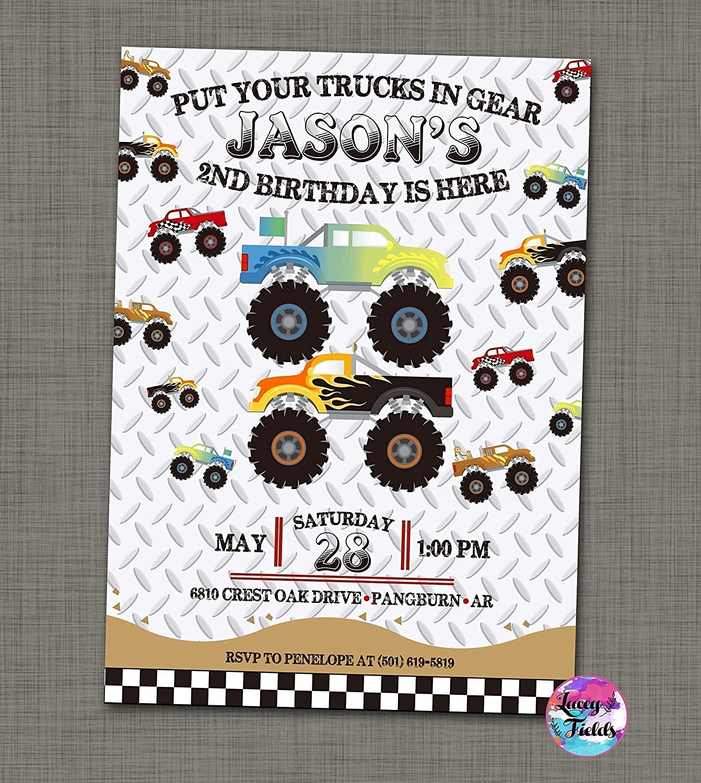 Amazon.com: Monster truck birthday invitations set of 10 Truck ...
