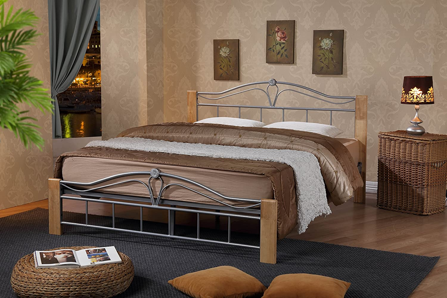 Thiago Metal Bed Frame 4FT Small Double Wooden Beech and Silver Modern Bedroom Furniture ROYALE COMFORT
