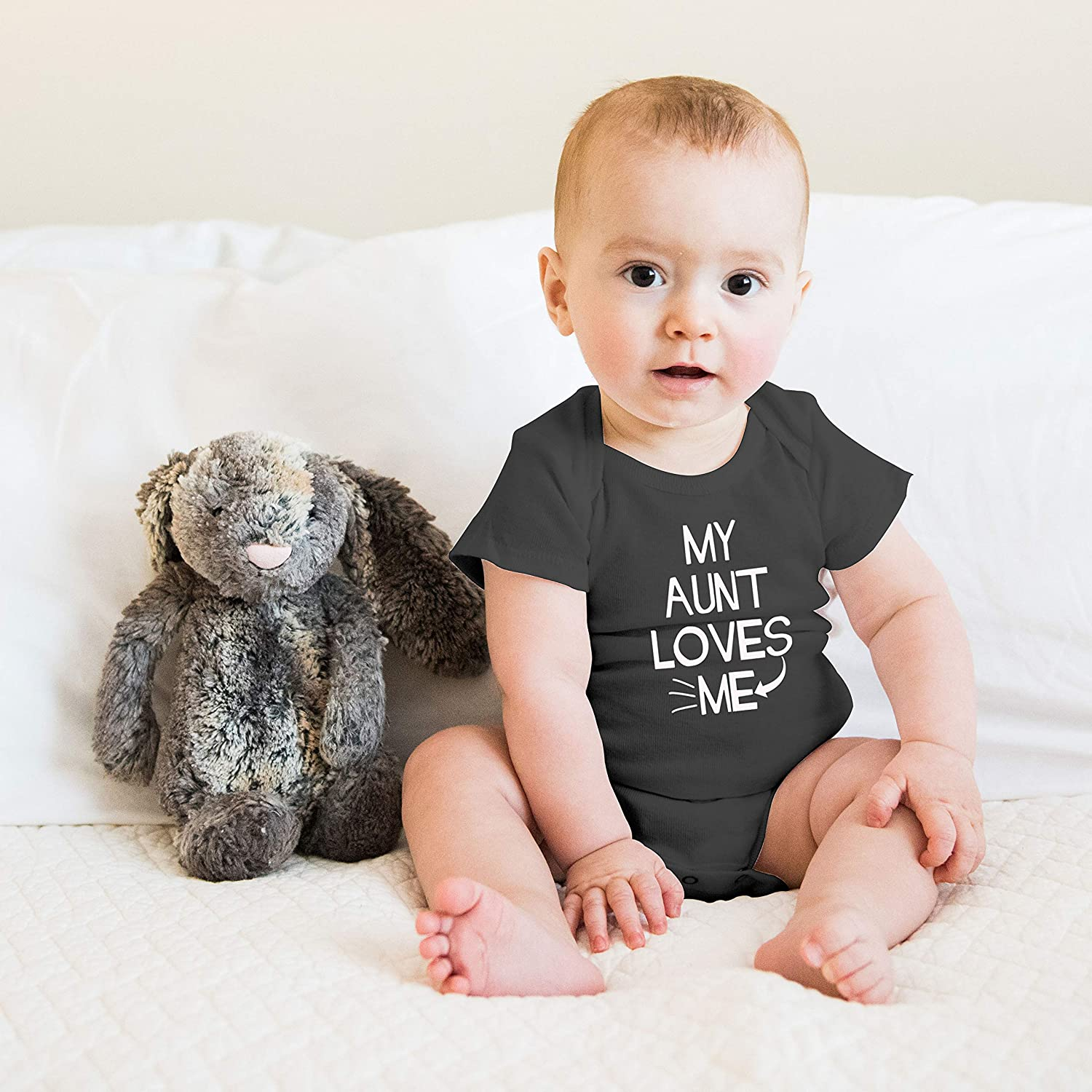 One-Piece Baby Bodysuit Witty Fashions My Aunt Loves Me Funny Cute Novelty Infant Creeper