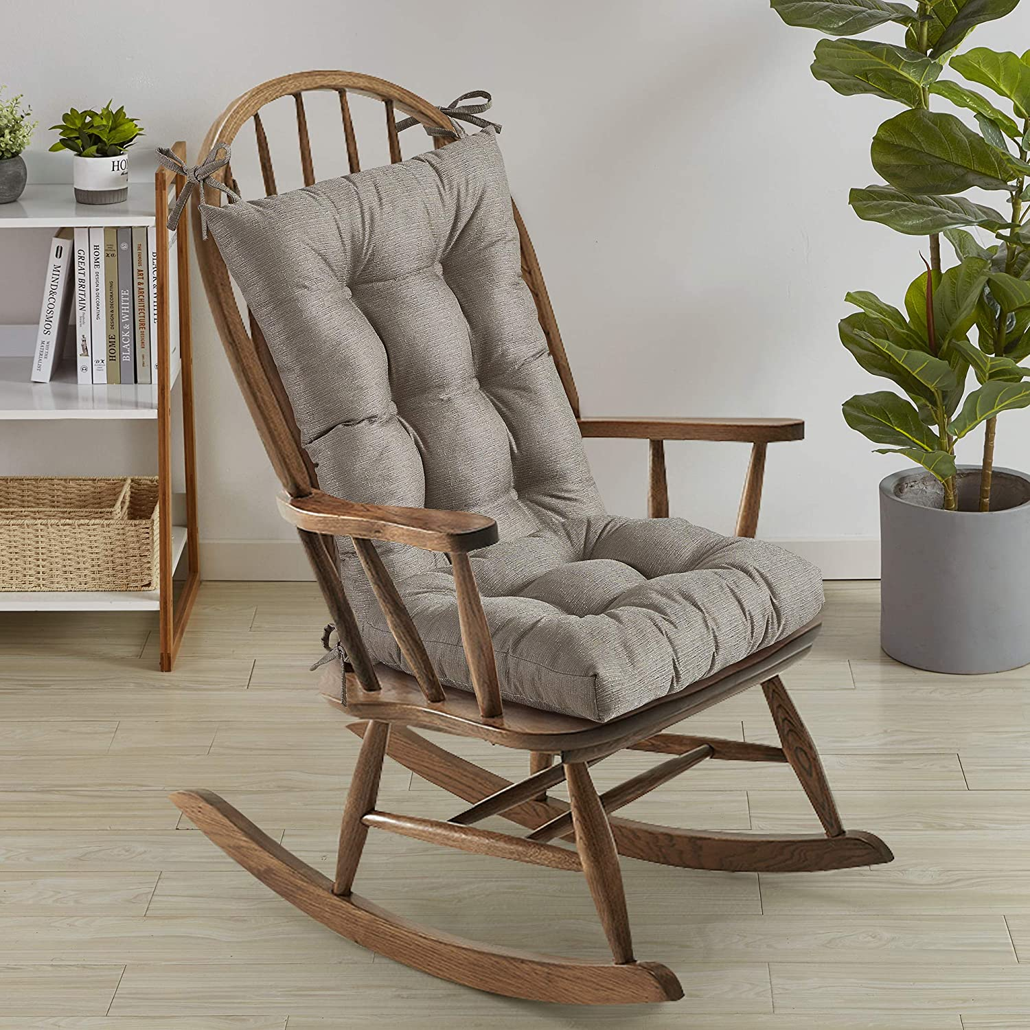 """Sweet Home Collection Rocking Chair Cushion Premium Tufted Pads Non Skid Slip Backed Set of Upper and Lower with Ties, 21"""" X 17""""/17"""" X 17"""", Taupe"""