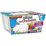 Nestlé Bébé P'tit Onctueux au Fromage Blanc Fruits Rouges - Laitage dès 6 mois - 4 x 100g -Lot de 6