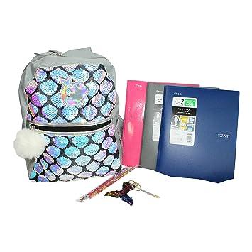 Amazon com | 8 pc Iridescent Sequin Mermaid Backpack For