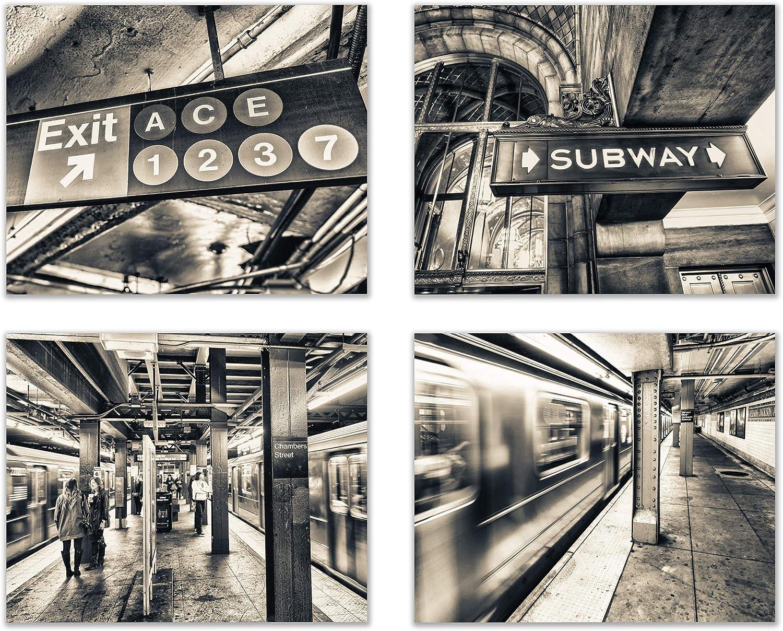 "Infinity Creations Big City Lights: New York Subway Fast Track Vision (Set of 4): Modern Art Decor Unframed Photo Prints (8""x10"")"