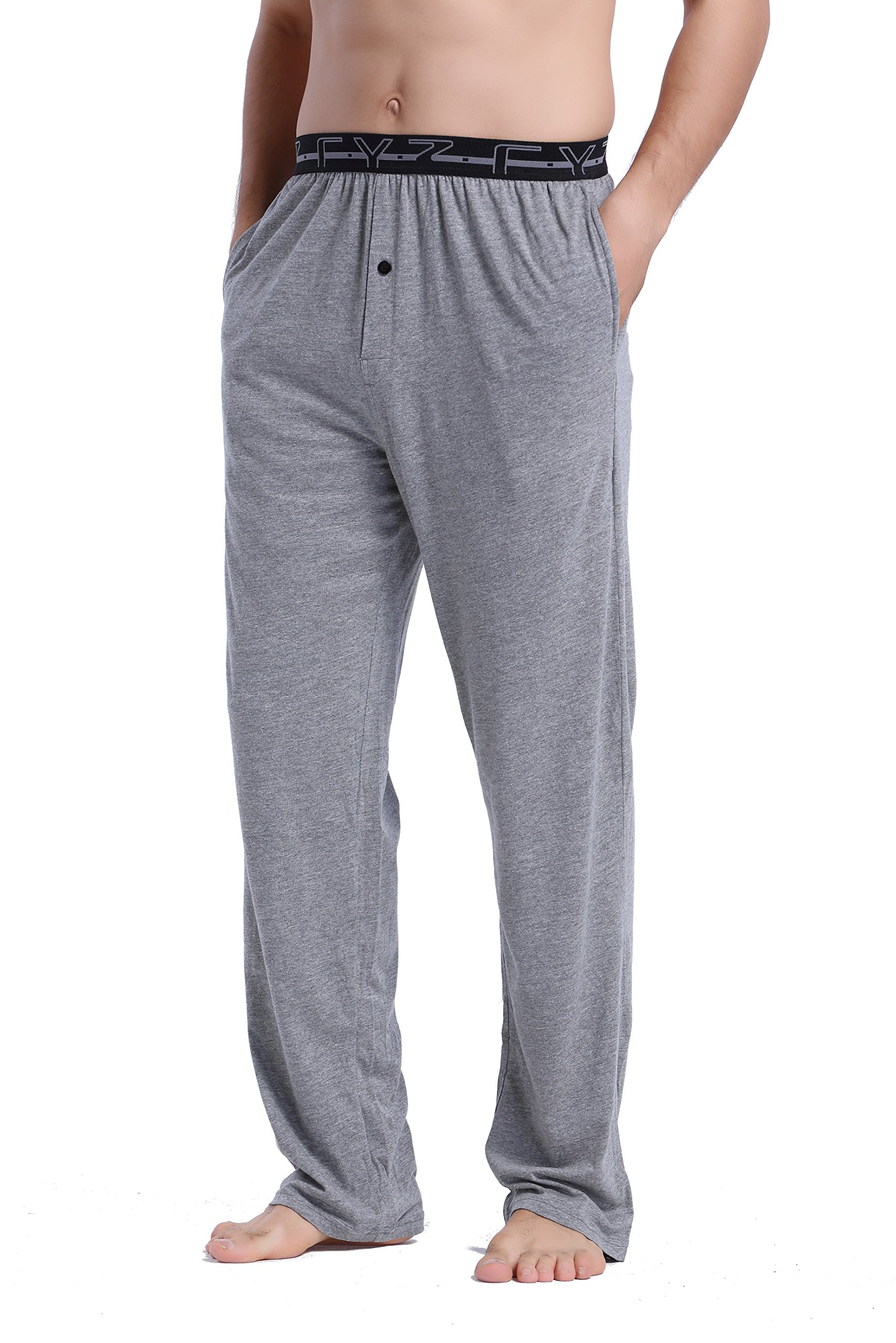 CYZ Men's 100% Cotton Jersey Knit Pajama Pants with Elastic Waistband-Darkgrey-L by CYZ Collection (Image #2)