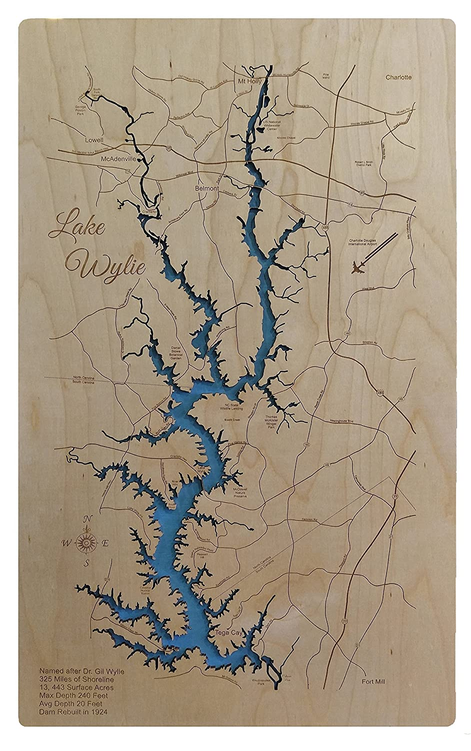 Lake Wylie, North Carolina/South Carolina: Standout Wood Map Wall Hanging