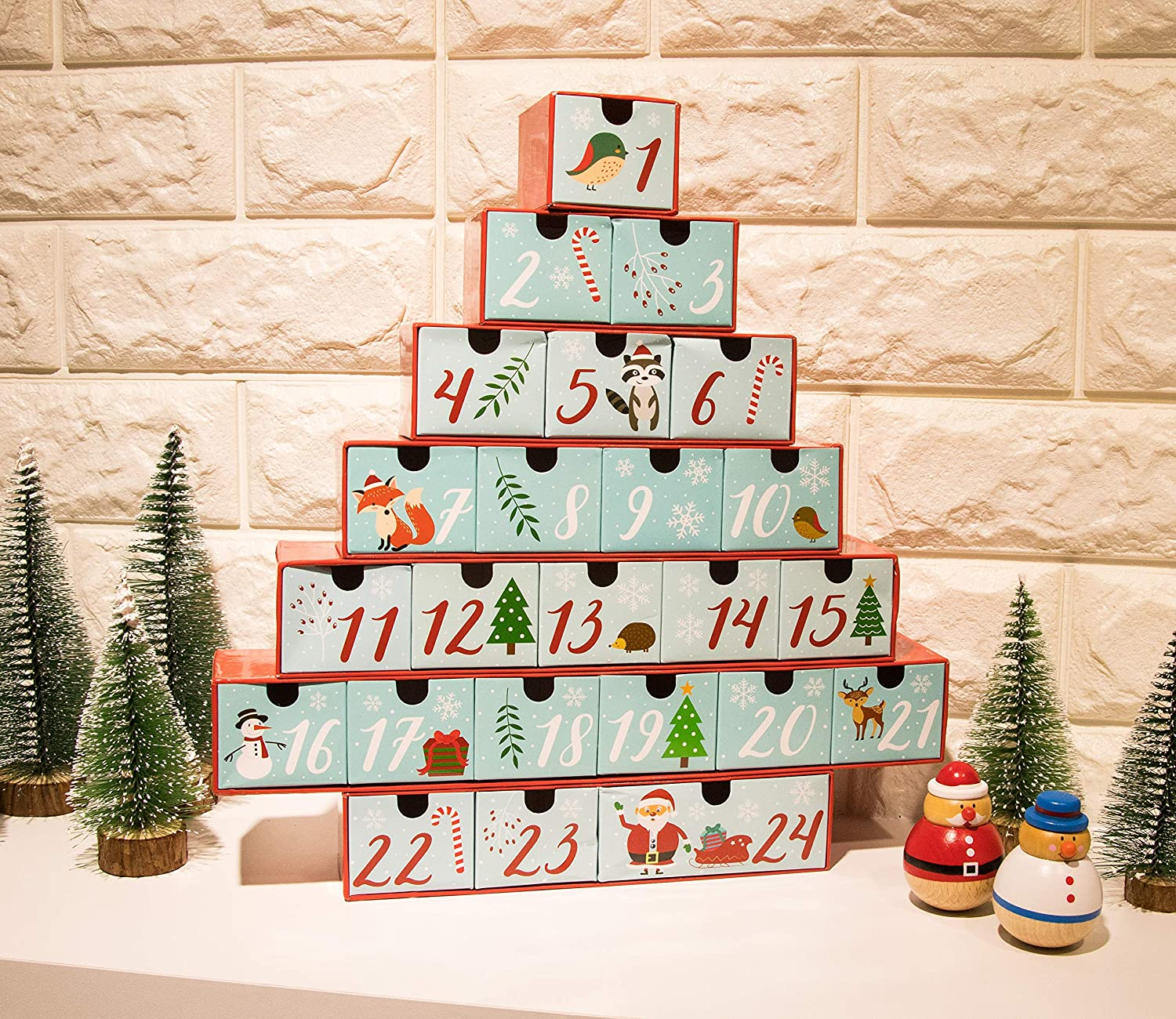 Christmas Tree Shaped Table Decoration Juvale Advent Calendar Large Holiday Treasure Box Christmas Countdown Red Cyan 24 Numbered Drawers 12 x 12.6 x 2.3 Inches Winter Festive Designs