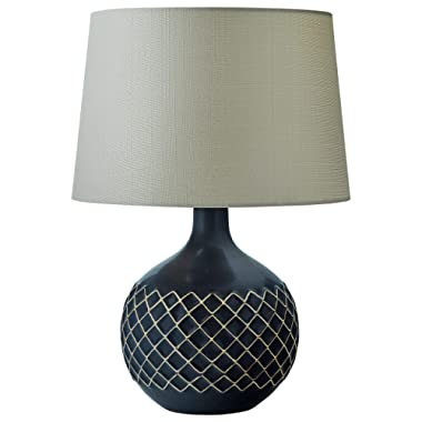 Stone & Beam Modern Ceramic Criss-Cross Table Lamp With LED Light Bulb - 13 x 21.5 Inches, Black